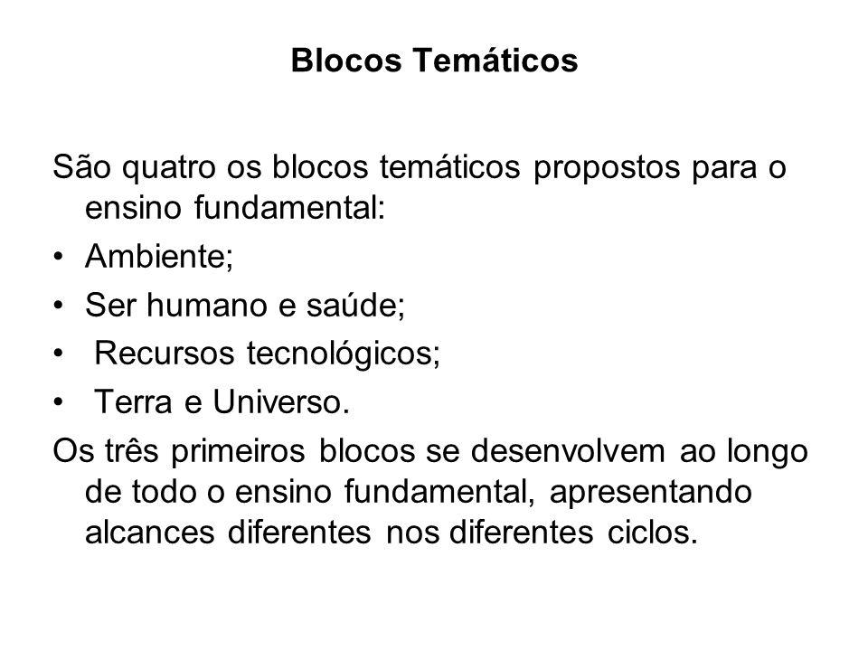 Blocos Temáticos São quatro os blocos temáticos propostos para o ensino fundamental: Ambiente; Ser humano e saúde;