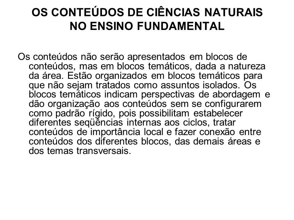 OS CONTEÚDOS DE CIÊNCIAS NATURAIS NO ENSINO FUNDAMENTAL