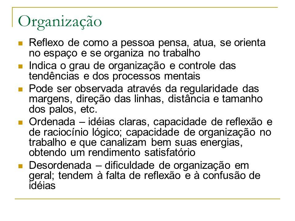 Organização Reflexo de como a pessoa pensa, atua, se orienta no espaço e se organiza no trabalho.