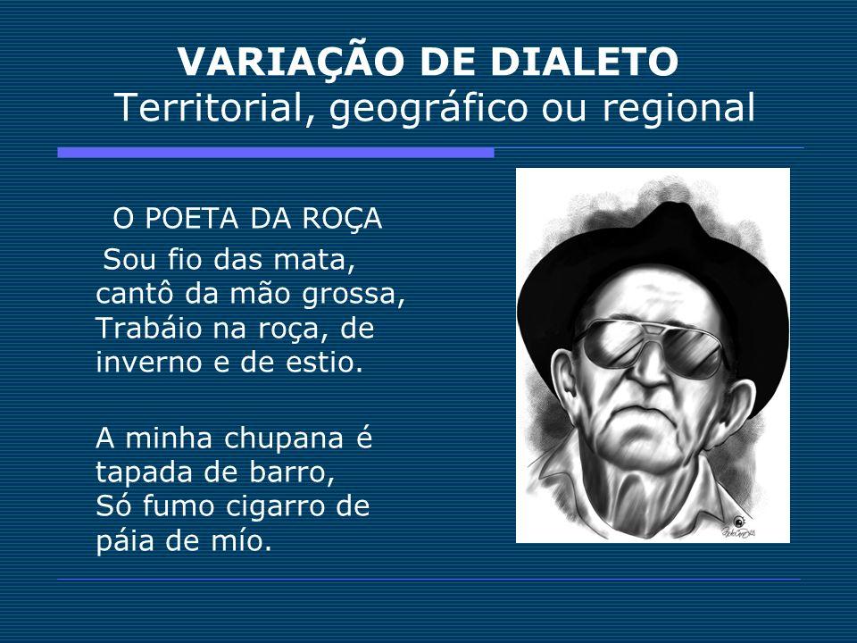 VARIAÇÃO DE DIALETO Territorial, geográfico ou regional