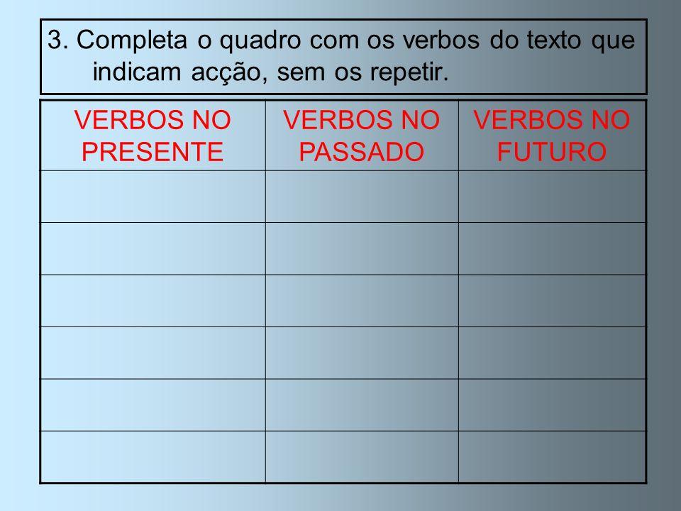 3. Completa o quadro com os verbos do texto que indicam acção, sem os repetir.
