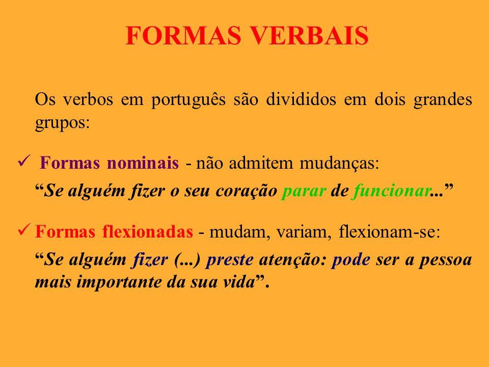 FORMAS VERBAIS Os verbos em português são divididos em dois grandes grupos: Formas nominais - não admitem mudanças: