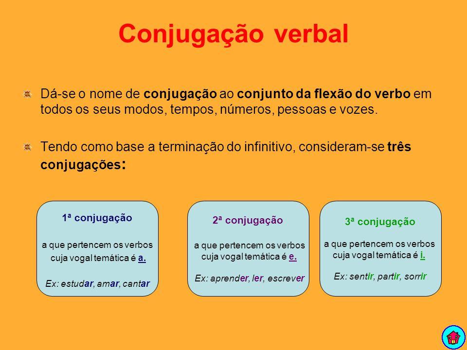 Conjugação verbal Dá-se o nome de conjugação ao conjunto da flexão do verbo em todos os seus modos, tempos, números, pessoas e vozes.