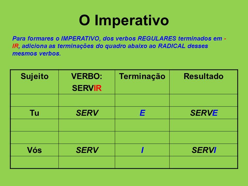 O Imperativo Sujeito VERBO: SERVIR Terminação Resultado Tu SERV E