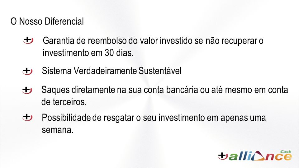 O Nosso Diferencial Garantia de reembolso do valor investido se não recuperar o investimento em 30 dias.