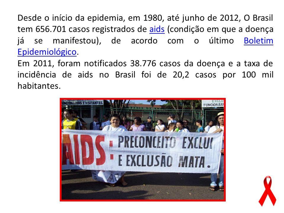Desde o início da epidemia, em 1980, até junho de 2012, O Brasil tem 656.701 casos registrados de aids (condição em que a doença já se manifestou), de acordo com o último Boletim Epidemiológico.
