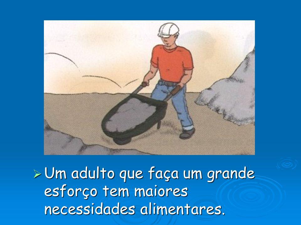 Um adulto que faça um grande esforço tem maiores necessidades alimentares.