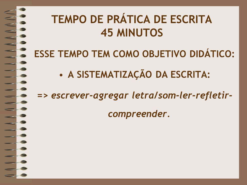 TEMPO DE PRÁTICA DE ESCRITA 45 MINUTOS