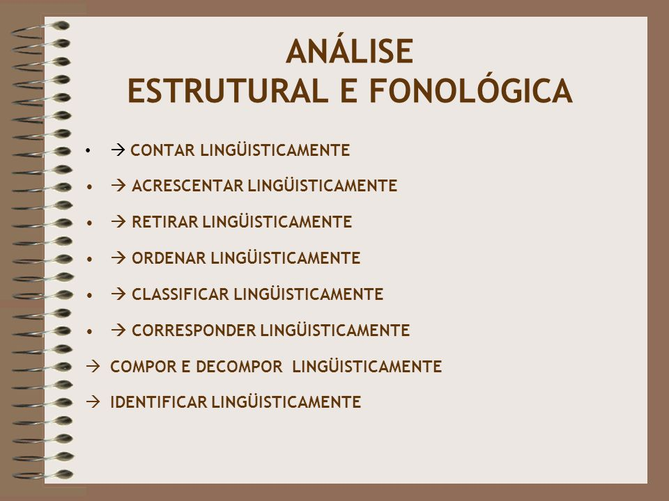 ANÁLISE ESTRUTURAL E FONOLÓGICA