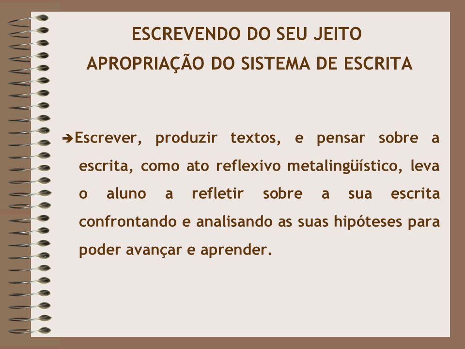 ESCREVENDO DO SEU JEITO APROPRIAÇÃO DO SISTEMA DE ESCRITA