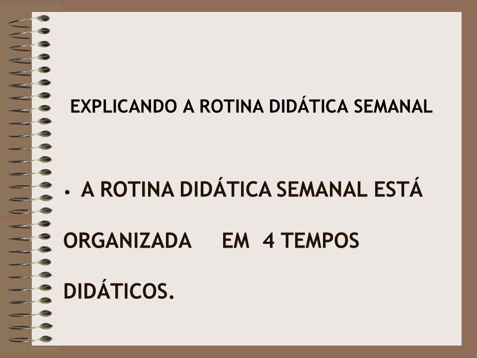 EXPLICANDO A ROTINA DIDÁTICA SEMANAL