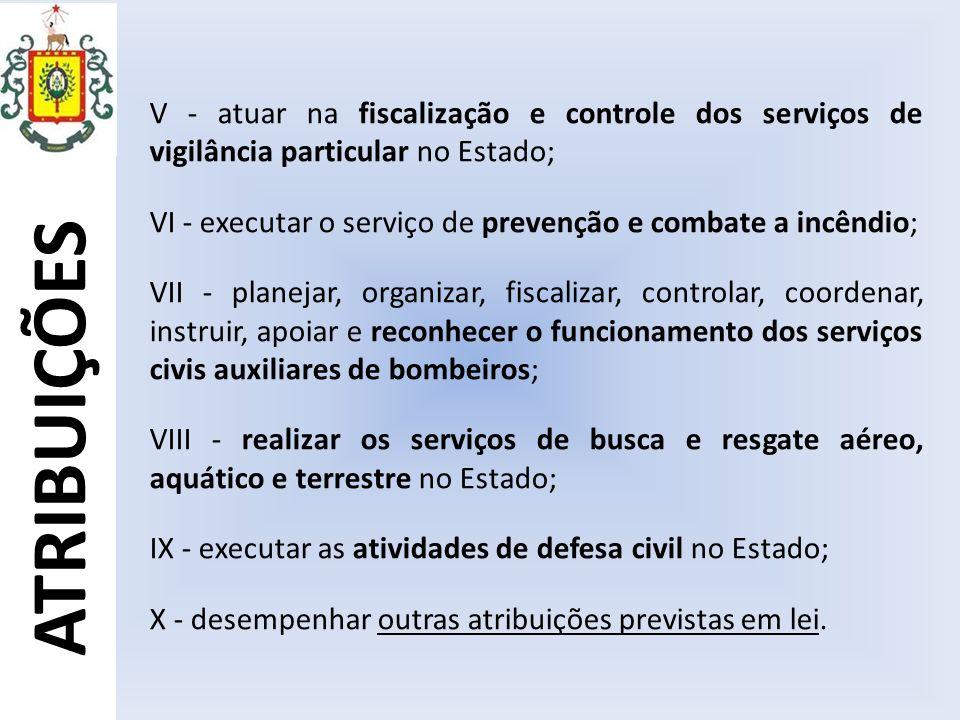 V - atuar na fiscalização e controle dos serviços de vigilância particular no Estado;