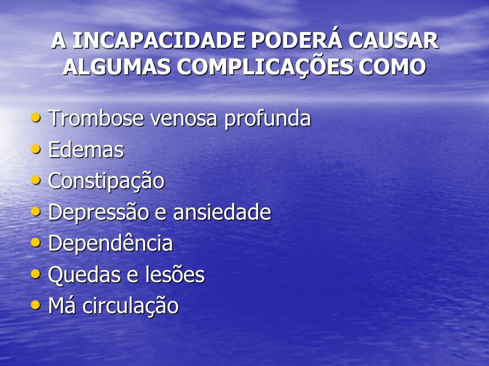 A INCAPACIDADE PODERÁ CAUSAR ALGUMAS COMPLICAÇÕES COMO