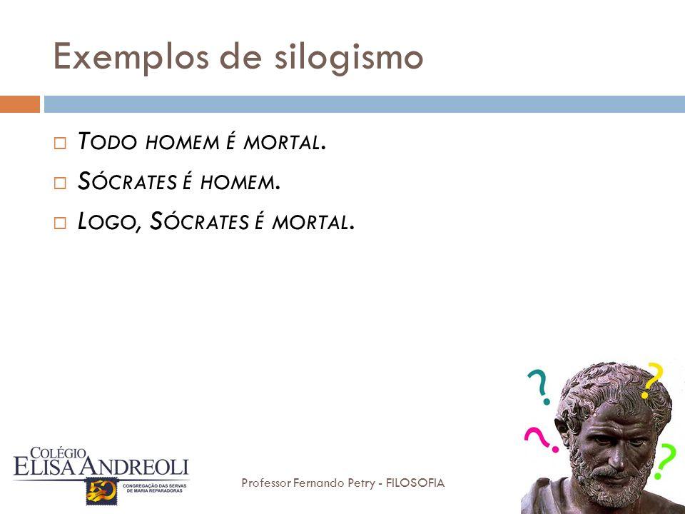 Exemplos de silogismo Todo homem é mortal. Sócrates é homem.