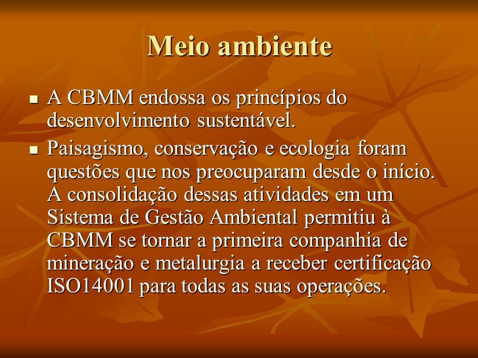 Meio ambiente A CBMM endossa os princípios do desenvolvimento sustentável.