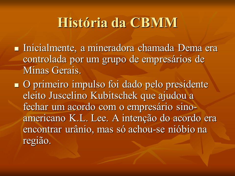 História da CBMM Inicialmente, a mineradora chamada Dema era controlada por um grupo de empresários de Minas Gerais.