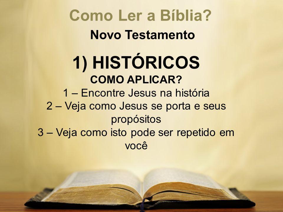 1) HISTÓRICOS Como Ler a Bíblia Novo Testamento COMO APLICAR