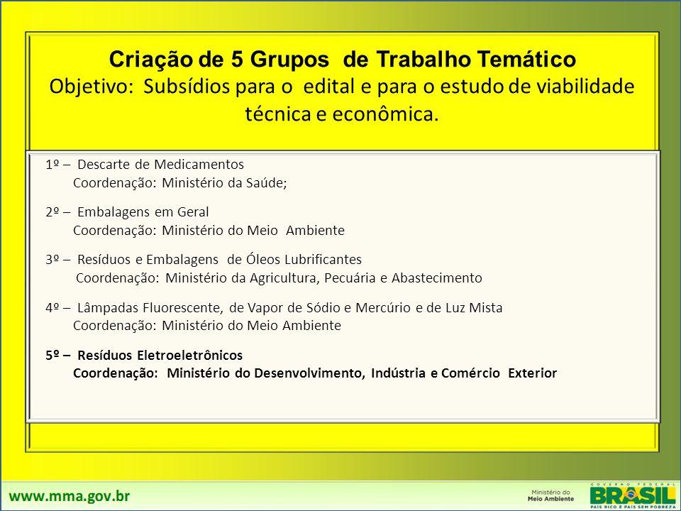 Criação de 5 Grupos de Trabalho Temático