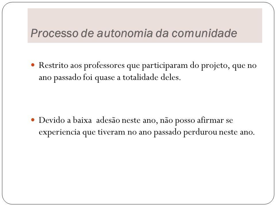 Processo de autonomia da comunidade
