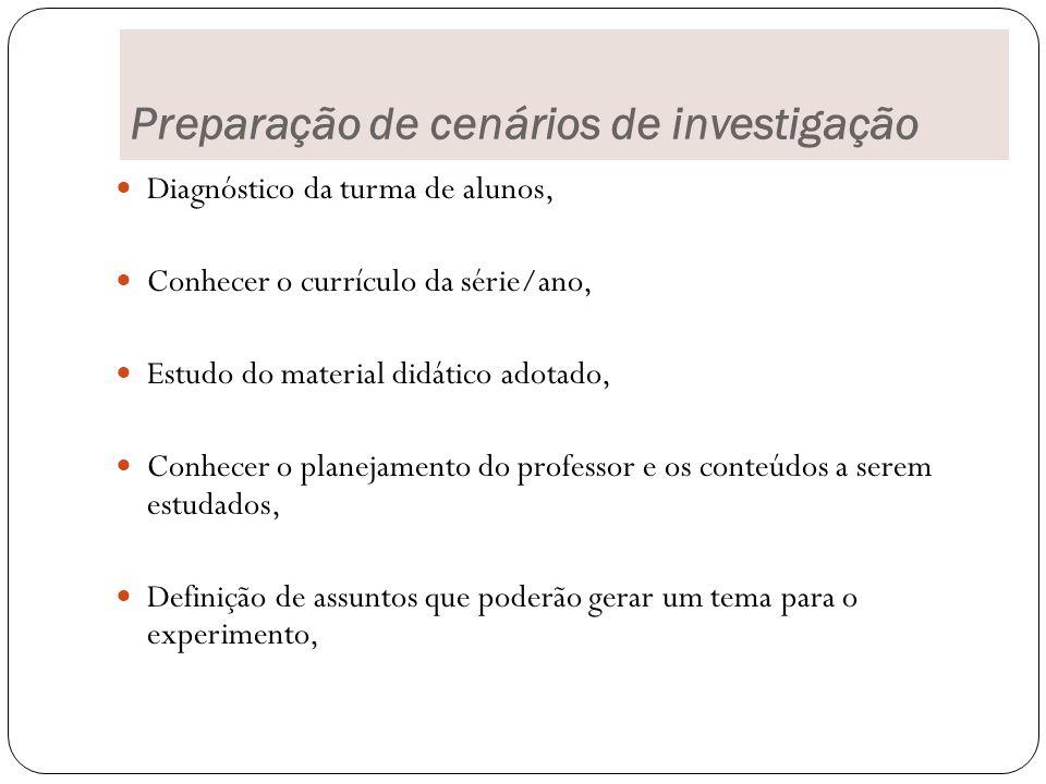 Preparação de cenários de investigação
