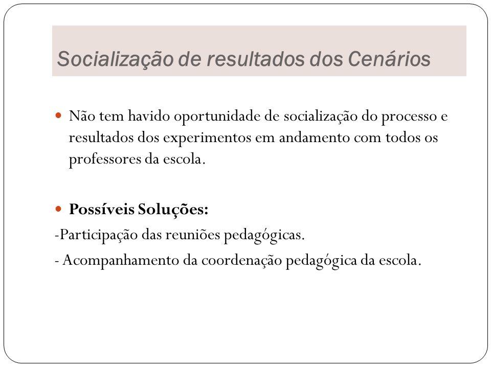 Socialização de resultados dos Cenários