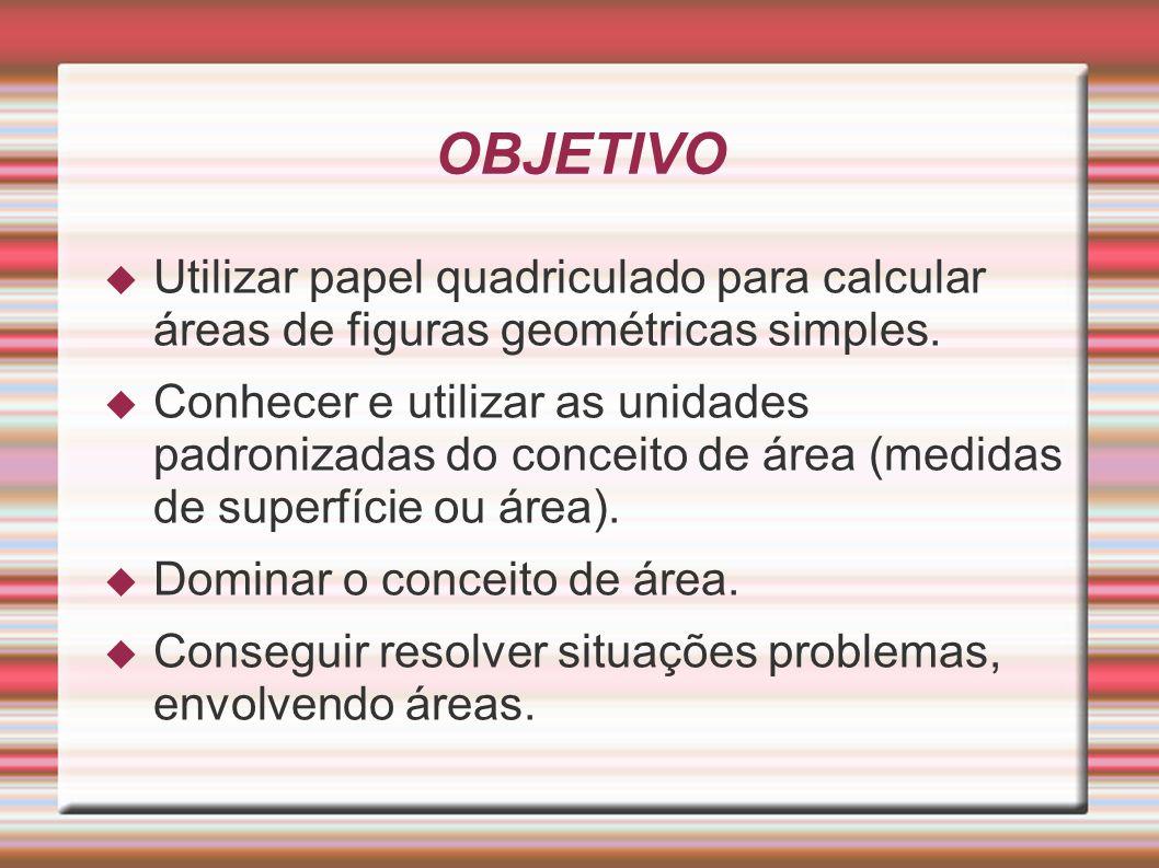 OBJETIVO Utilizar papel quadriculado para calcular áreas de figuras geométricas simples.