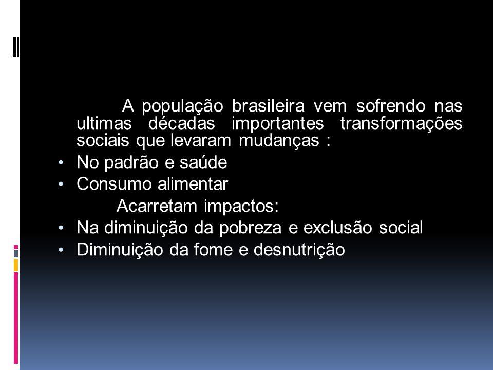 A população brasileira vem sofrendo nas ultimas décadas importantes transformações sociais que levaram mudanças :