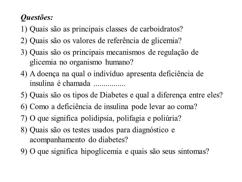 Questões: Quais são as principais classes de carboidratos Quais são os valores de referência de glicemia