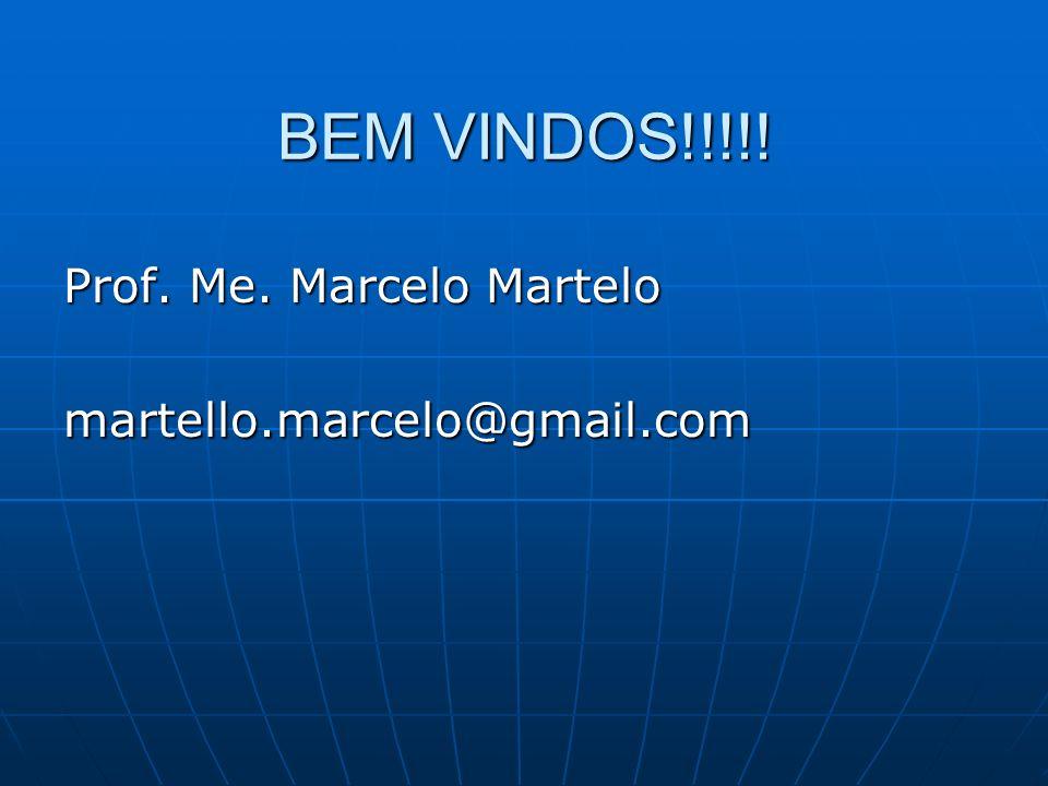 BEM VINDOS!!!!! Prof. Me. Marcelo Martelo martello.marcelo@gmail.com