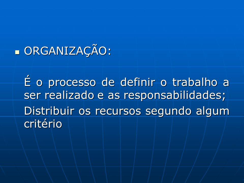 ORGANIZAÇÃO: É o processo de definir o trabalho a ser realizado e as responsabilidades; Distribuir os recursos segundo algum critério.