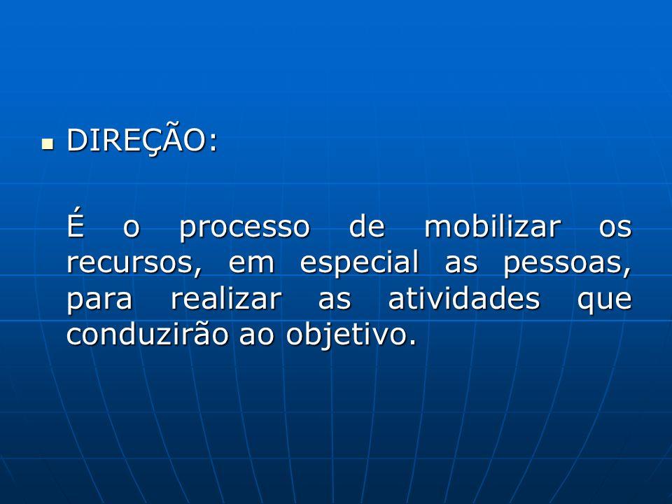 DIREÇÃO: É o processo de mobilizar os recursos, em especial as pessoas, para realizar as atividades que conduzirão ao objetivo.