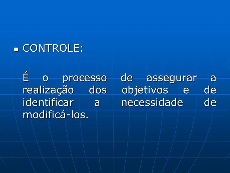 CONTROLE: É o processo de assegurar a realização dos objetivos e de identificar a necessidade de modificá-los.