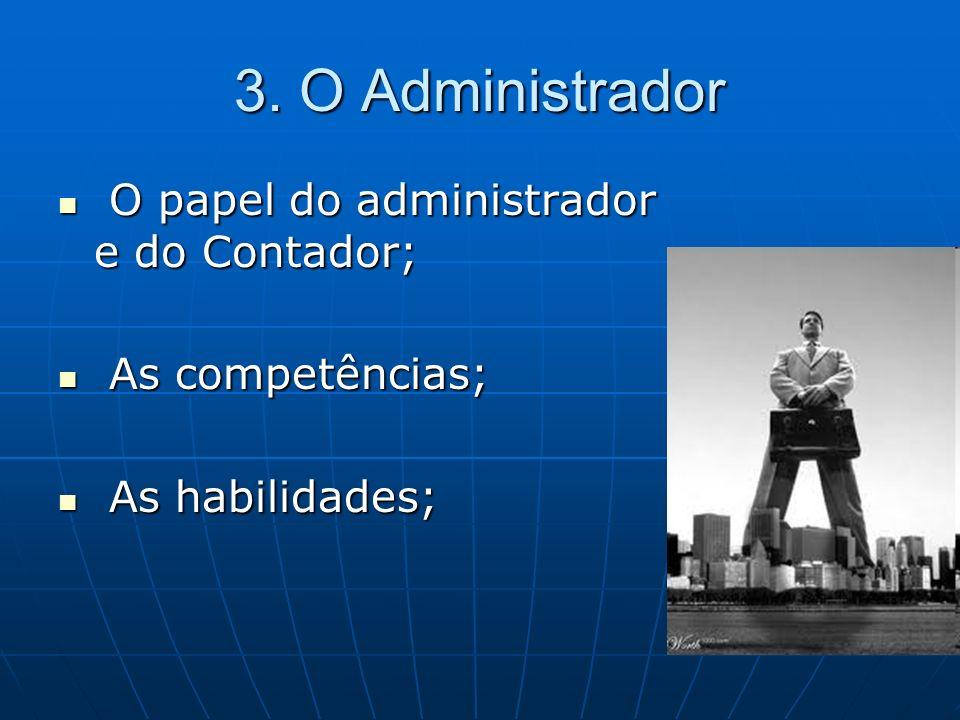 3. O Administrador O papel do administrador e do Contador;