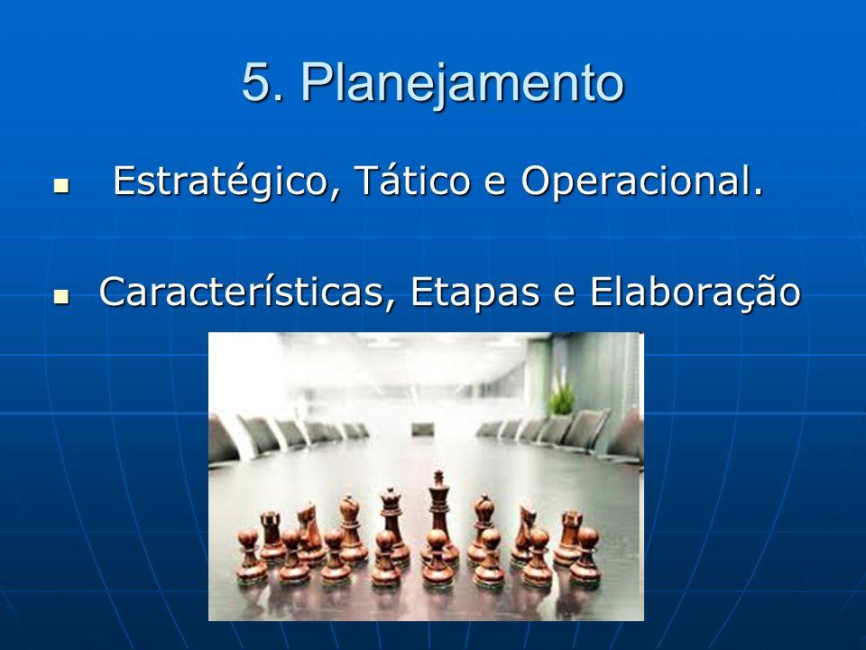 5. Planejamento Estratégico, Tático e Operacional.