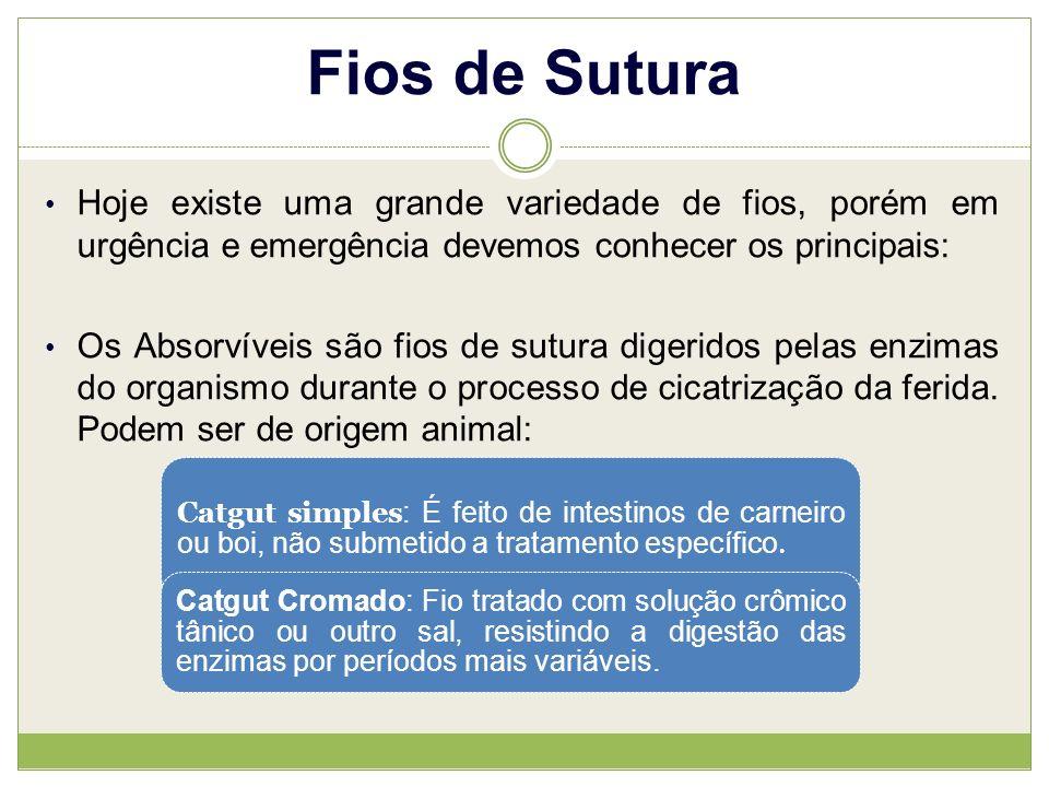 Fios de Sutura Hoje existe uma grande variedade de fios, porém em urgência e emergência devemos conhecer os principais: