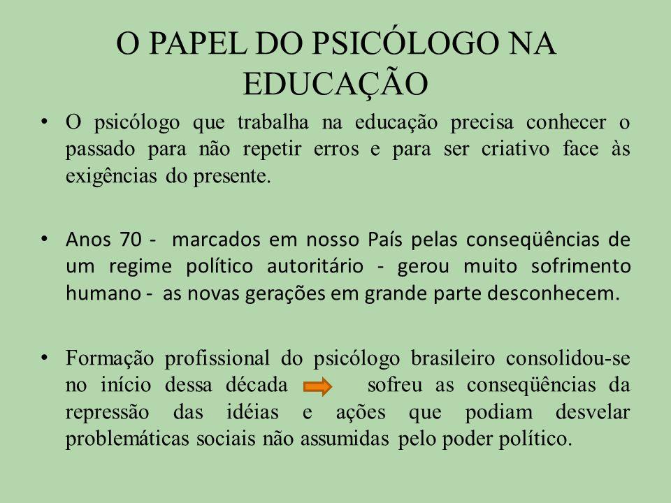 O PAPEL DO PSICÓLOGO NA EDUCAÇÃO