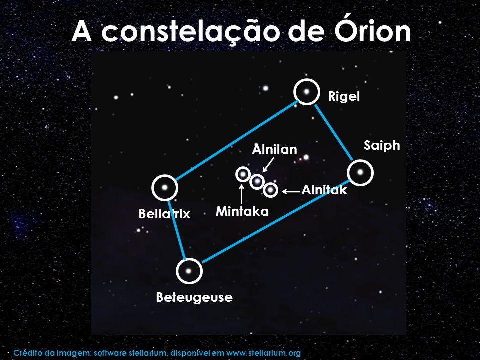 A constelação de Órion Rigel Saiph Alnilan Alnitak Mintaka Bellatrix