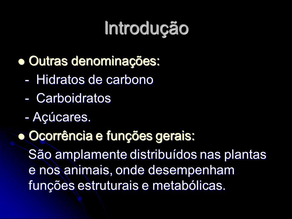 Introdução Outras denominações: - Hidratos de carbono - Carboidratos