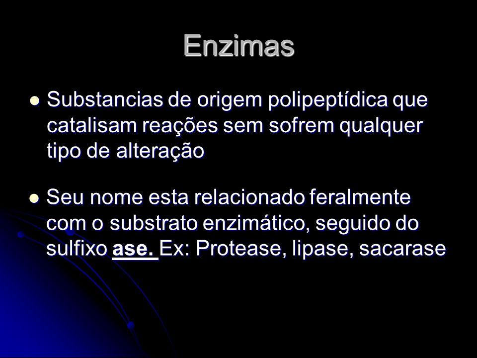 Enzimas Substancias de origem polipeptídica que catalisam reações sem sofrem qualquer tipo de alteração.
