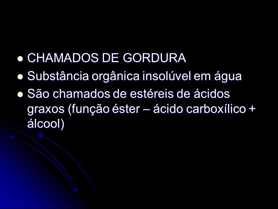 CHAMADOS DE GORDURA Substância orgânica insolúvel em água.