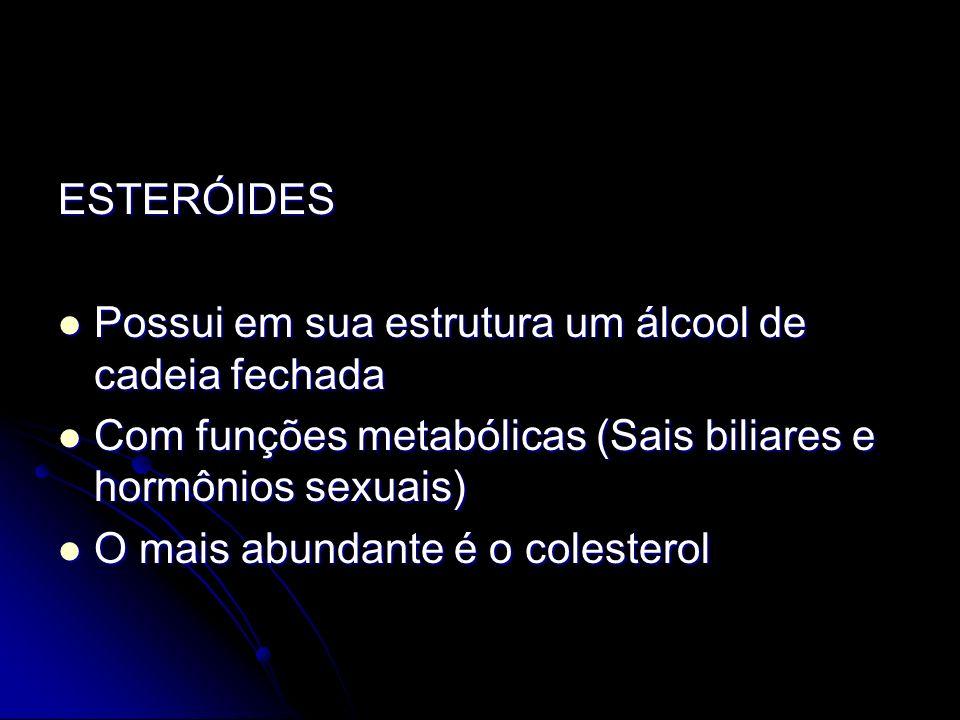 ESTERÓIDES Possui em sua estrutura um álcool de cadeia fechada. Com funções metabólicas (Sais biliares e hormônios sexuais)