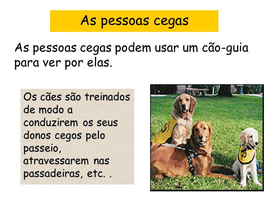 As pessoas cegas As pessoas cegas podem usar um cão-guia para ver por elas.