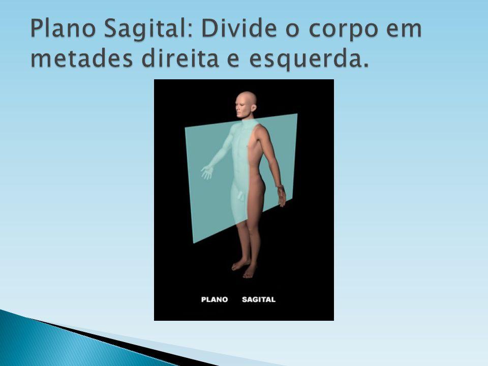Plano Sagital: Divide o corpo em metades direita e esquerda.
