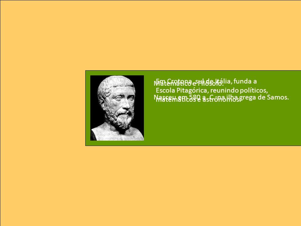 Em Crotona, sul de Itália, funda a Escola Pitagórica, reunindo políticos, matemáticos e astrônomos.