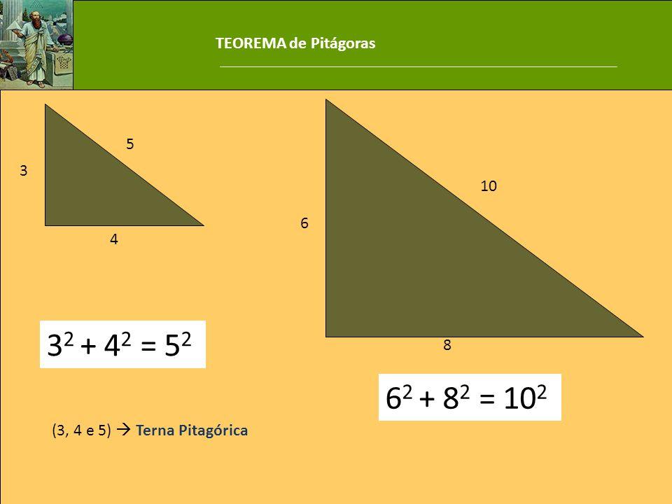 32 + 42 = 52 62 + 82 = 102 TEOREMA de Pitágoras 5 3 10 6 4 8