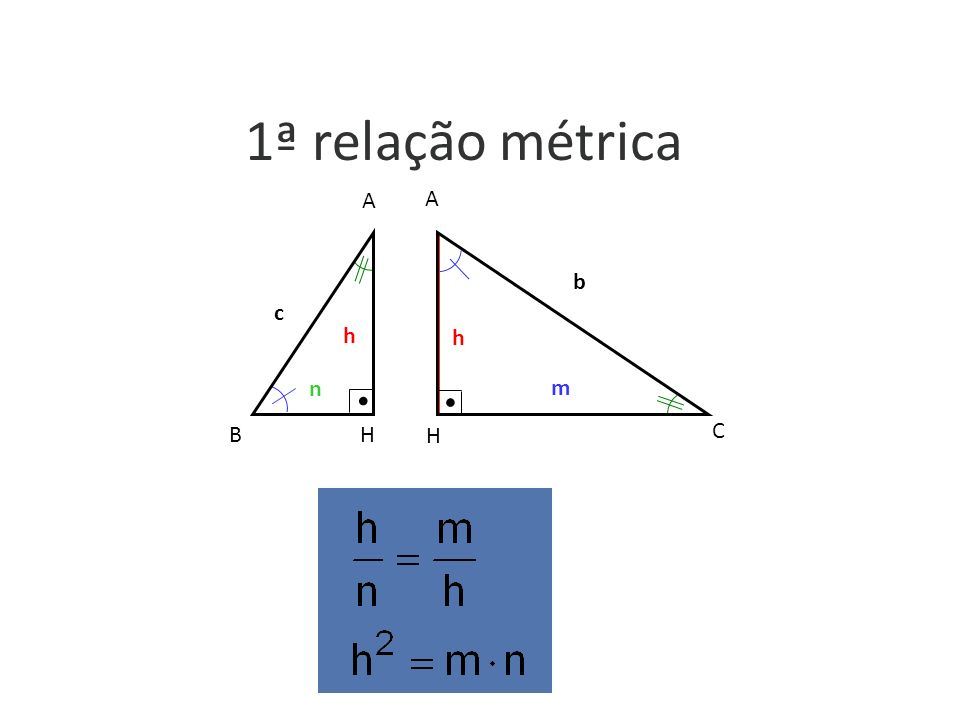 1ª relação métrica h c n A H B h b m A H C m b h c h n