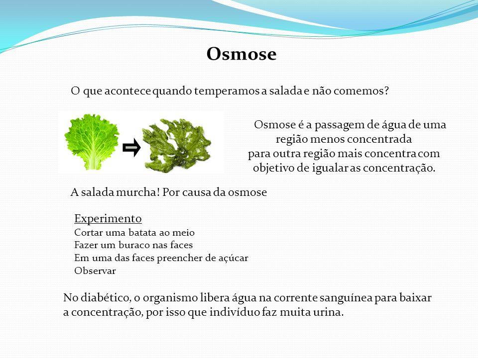 Osmose é a passagem de água de uma região menos concentrada