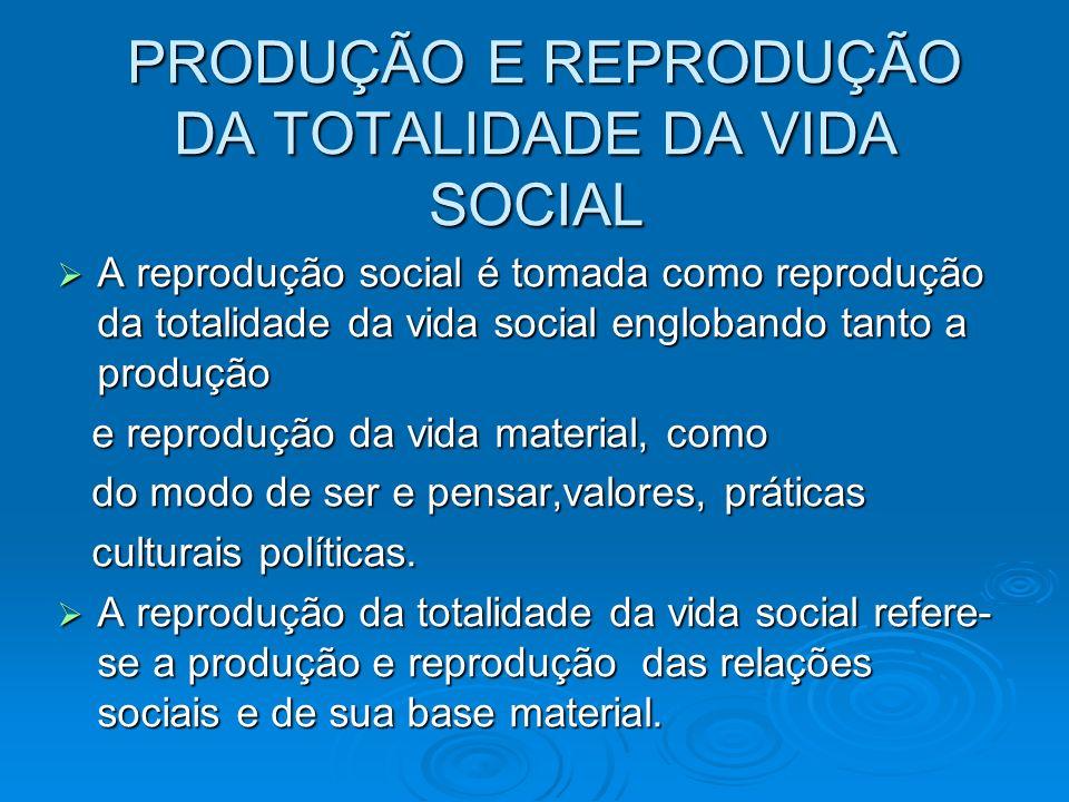 PRODUÇÃO E REPRODUÇÃO DA TOTALIDADE DA VIDA SOCIAL