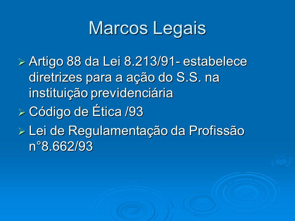 Marcos Legais Artigo 88 da Lei 8.213/91- estabelece diretrizes para a ação do S.S. na instituição previdenciária.