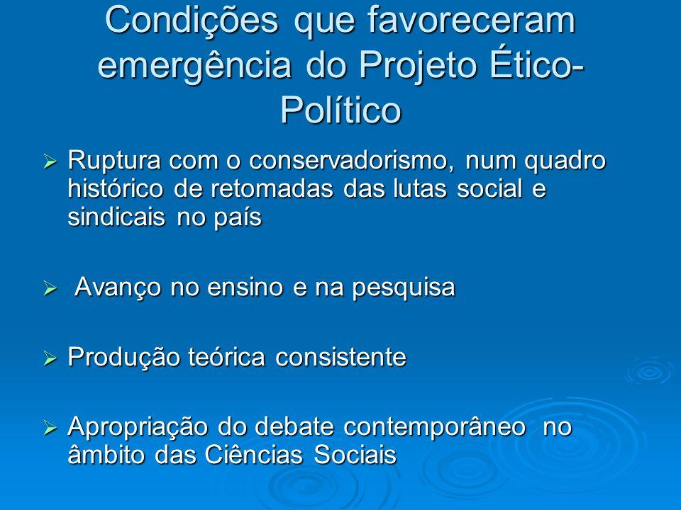 Condições que favoreceram emergência do Projeto Ético-Político
